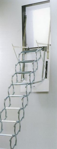 Dimes PAN/P Vertical Wall Access Steel Concertina Loft Ladder -- The zinc plated steel concertina ladder comes complete with a steel hatch lining and MDF trapdoor as standard. It stores completely within the vertical hatch opening. The Dimes PAN/P is suitable for floor heights from 2400 to 3000mm and is available in 2 loft opening sizes: 1000 x 700mm & 1300 x 700mm. It comes spring assisted for ease of operation. Each non-slip ladder tread measures 100mm deep and 360mm wide. # From £730.00…
