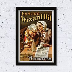 1890 Hamlin's Wizard Oil // Will Cure Your Rheumatism // High Quality Fine Art Reproduction Giclée Print // Vintage Poster by WiredWizardWeb on Etsy