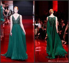Wholesale Evening Dresses - Buy Elie Saab V-Neck Evening Dress 2014 Exquisite Handmade Prom Party Gowns Deep V-NECK Red Carpet Dress Dark Green Evening Dress, $148.0 | DHgate