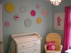 Baby Girl Blue, This is a turquoise blue with yellow and pink accents for our baby girl, This is the budget wall.  The hoops and fabric are ...