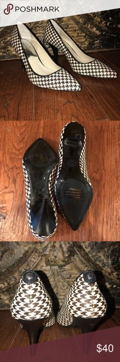 "Michael Kors Fur Herringbone Pumps Worn once & they look brand new! Fur is in perfect condition. Heel is about 3"" tall MICHAEL Michael Kors Shoes Heels"