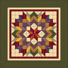 """Harvest Wreath - Animated Quilt Pattern - Wall Hanging 36""""x 36"""""""