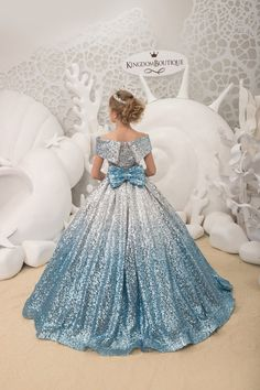 Blue and Silver Flower Girl Dress with Sparkling Sequins – Birthday Wedding Party Holiday Bridesmaid Flower Girl Blue Silver Dress – Vestido daminha de honra – Flower Girls Pageant Dresses, Dresses Kids Girl, Flower Girl Dresses, Princess Dresses, Flower Girls, Blue And Silver Dress, Kids Gown, Bridesmaid Flowers, Bridesmaid Dresses