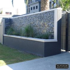 modern fence designs metal with concrete walls Google Search