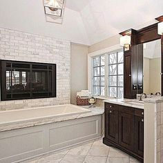 Who doesn't love a fireplace in the bathroom?Tag a friend who would love this too! Fixer Upper, Interior Styling, Luxury Homes, New Homes, Bathtub, Real Estate, Bathroom, Kitchen, Tile