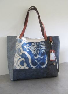 Tote bag linen,hemp,leather and recycled denim.