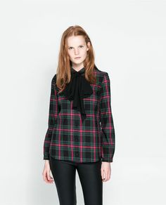 ZARA - NEW COLLECTION - CHECKED SHIRT WITH BOW