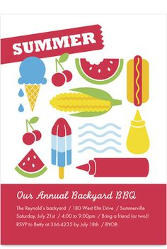 Summer Foods BBQ Party Invitation