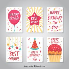 Happy birthday cards collection Free Vector