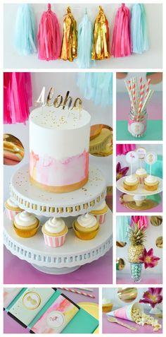 Tropical Aloha themed Bridal Shower via Kara's Party Ideas   KarasPartyIdeas.com love the watercolor cake!