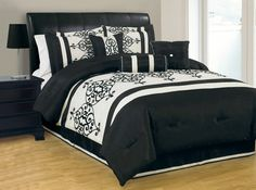 Queen Catherine Flocking Black and Ivory Comforter Set