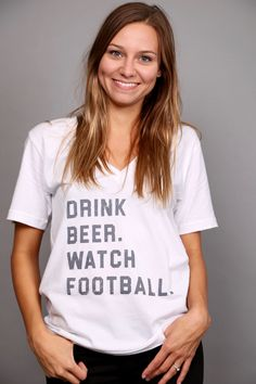 Drink Beer, Watch Football V-Neck Top {White} - The Rage - 1