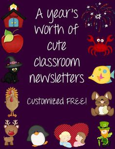 Cute classroom newsletter templates for each month to match the calendar set. Personalized with your name and headings. $