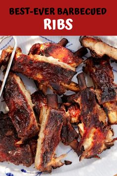 Best ever BBQ ribs. Start in oven and finish on the grill.Got nothing but time on your hands? Cook these BBQ ribs really low and slow. Set the oven at and start checking the ribs after 3 hours. But don't sweat it; they'll be super-tender either way. Barbecue Ribs, Ribs On Grill, Pork Ribs, Oven Ribs, Bbq Pork, Pork Chops, Rib Recipes, Grilling Recipes, Dinner Recipes