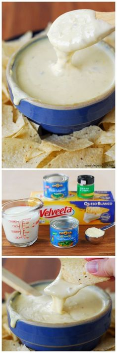 This queso blanco recipe is an easy way to make white cheese dip using Velveeta and peppers. This queso recipe is the perfect appetizer for parties! Dip Recipes, Mexican Food Recipes, Snack Recipes, Cooking Recipes, Party Recipes, Cooking Tips, Recipies, Appetizer Dips, Yummy Appetizers