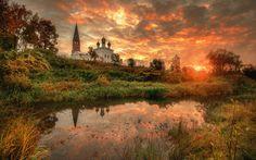 осень, сентябрь, восход, заря, церковь