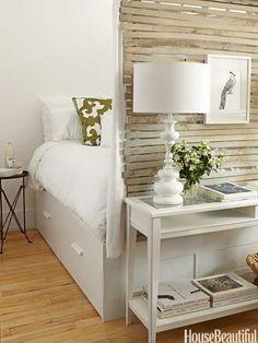 bedroom corner tucked in behind lounge wall