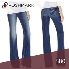 "7 for all Mankind! Everyone's favorite the ""Dojo"" jeans. Features a flare and a fabulous fit. Inseam 32'. EUC.97% cotton, 3% spandex. See fourth pic for flaw around flare- minimal does not affect wear at all. trades. 7 for all Mankind Jeans Flare & Wide Leg"