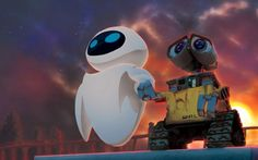 wall e is boxy quirky a strange mix of shapes. eve is round, modern, streamlined. eve and wall e communicate with the shape of their eyes. Up Pixar, Disney Pixar, Art Disney, Disney Kunst, Disney Movies, Pixar Movies, Disney Stuff, Wall E Eve, Cartoon Wallpaper