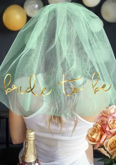 This mint green & metallic gold Bachelorette Party Veil is so fresh & modern - every Bride will love to Party the night away in this pretty Bride Veil!  Available exclusively at The House of Bachelorette.