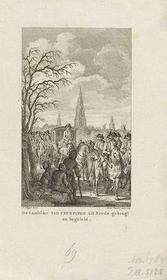 Reinier Vinkeles | Kanselier J.A. van Crumpipen uit Breda naar Brabant teruggebracht, 1789, Reinier Vinkeles, 1799 | Kanselier J.A. van Crumpipen wordt per koets en onder begeleiding vanuit Breda naar Brabant teruggebracht, 14 november 1789.
