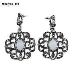 ER388 Antique Silver Color Bohemia Flower Retro Vintage Earrings For Women Lady 2015 New Jewelry Bijouterie