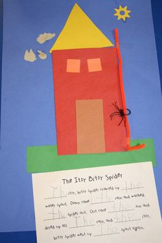 "Lee's Kindergarten - nursery rhyme idea - Itsy Bitsy Spider craft idea with sight word ""the"" written in by student. Nursery Rhyme Crafts, Nursery Rhymes Preschool, Nursery Rhyme Theme, Preschool Ideas, Nursery Rhythm, Daycare Ideas, Craft Ideas, Kindergarten Literacy, Early Literacy"