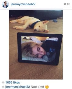 Kirstie and her baby husky Olaf taking a nap