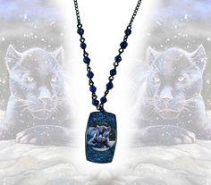 Metal pendant  black panther big cat animal nature dark blue