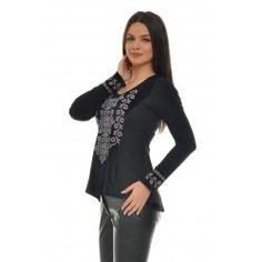 Executata cu o tehnologie de inalta calitate,  broderia este incredibil de moale si flexibila.  Aceasta bluza asimetrica este un obiect vestimentar care se potriveste fiecarei persoane indiferent de varsta, statura sau greutate, a fost adaptata modernismului astfel ca ea poate fi purtata atat cu jeansi, colanti, pantaloni sau fusta. Elementele brodate se imbina armonios pastrand un aspect modern care va atrage toate privirile. Shoulder, Tops, Women, Fashion, Moda, Women's, La Mode, Shell Tops, Fasion