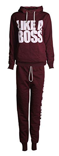 Women's Athletic Clothing Sets - Forever Womens Long Sleeves Like a Boss Print Hoodie Sweatshirt Trousers Tracksuit -- Check out this great product. (This is an Amazon affiliate link)