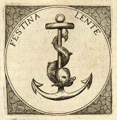 "Ancla & Delfín. ""Festina lente"". Salomon Neugebauer, ""Selectorum Symbolorum Heroicorum"" (Frankfurt, 1619, p.3)"