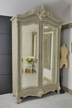 Large French Shabby Chic Knock Down Armoire Artwork