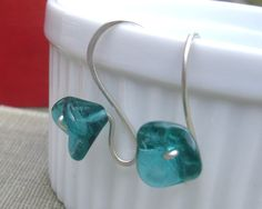Long Stem Aqua Green Glass Flower Earrings by nicholasandfelice, $ 14.50