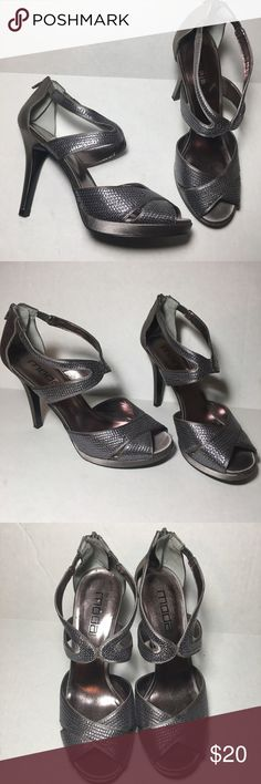 "Moda Spana Silver Sequin Sandal Heels Stilettos Excellent used condition, worn once. Have one small indentation on the back of one heel as shown in photo. Zipper in the back. 4.5"" heel. Moda International Shoes Heels"