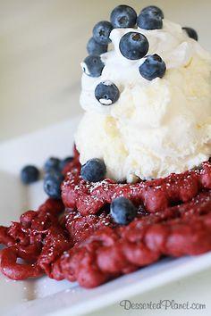 Red Velvet Funnel Cake.  July 4th dessert perfection!