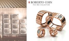 "Considered a new icon, Pois Moi Collection is one of the most striking and powerfully elegant lines of Roberto Coin universe. Gold is the primary element, with an ultra-modern pattern reproduced in a design inspired by the retro ""television shape"" of the 1950s."
