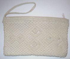 "Womens Macrame Clutch Wristlet Beige Top Zipper Close 7 x 11 1/2"" Clean No flaws #Unbranded #Clutch"