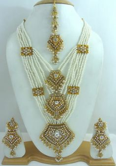 Indian Bollywood White Gold Tone Pearl Rani Haar Bridal Necklace Jewelry Set | eBay