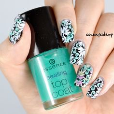 ssunnysideup: Sheer tints/stamped flowers nails with catrice and konad polish