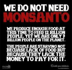 The people are starving not because lack of food but because they lack the money to pay for it...we do not need Monsanto