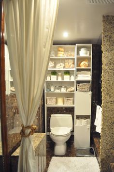 awesome bathroom storage idea for over-the-toilet