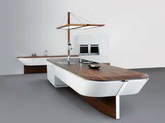 Pour papi Mucho îlot de cuisine en forme de yacht