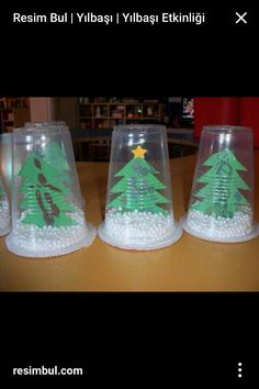 Plastic cup snow globe - - Holiday wreaths christmas,Holiday crafts for kids to make,Holiday cookies christmas, Christmas Arts And Crafts, Christmas Activities, Christmas Projects, Kids Christmas, Holiday Crafts, Christmas Ornaments, Christmas Crafts For Kindergarteners, Kindergarten Christmas Crafts, 2nd Grade Christmas Crafts