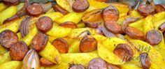 Recept Zapečené brambory s cibulí a párkem Sausage, Meat, Sausages, Chinese Sausage