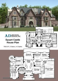 Dysart Castle House Plan As you approach this stately edifice. - Dysart Castle House Plan As you approach this stately edifice… – Dysart Cas - Castle Floor Plan, Castle House Plans, House Plans Mansion, Sims House Plans, Luxury House Plans, Craftsman House Plans, Country House Plans, Dream House Plans, House Floor Plans
