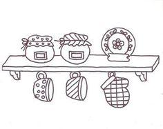 Vários modelos de riscos de bordados simples para panos de prato.