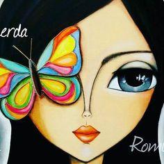 Abstract Faces, Eye Art, Whimsical Art, Fabric Painting, Portrait Art, Oeuvre D'art, Rock Art, Painted Rocks, Art Girl