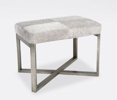 Our popular Roger is available in two sizes, two finishes (antiqued brassand antiqued silver), and with two different cushions: dark brown or gray hair-on-hide. The criss-crossed base has a minimalist feel while the Brazilian hair-on-hide top adds a natu Fine Furniture, Accent Furniture, Furniture Making, Antique Furniture, Cowhide Bench, Ottoman Bench, Bed Bench, Daybed, Neutral Cushions
