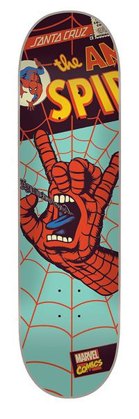 Santa Cruz Skateboards: Decks: 8.0in x 31.6in Marvel Spiderman Hand Decks Deck